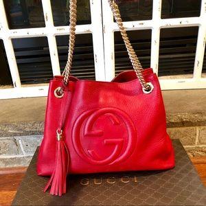 AUTHENTIC** GUCCI SoHo Shoulder Bag Medium RED